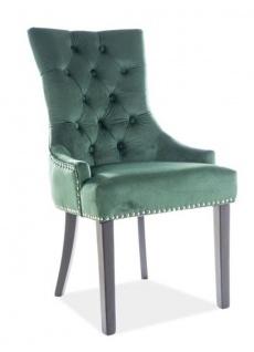 Casa Padrino Luxus Chesterfield Esszimmer Stuhl Grün / Silber / Schwarz - Küchenstuhl mit Samtstoff - Esszimmer Möbel
