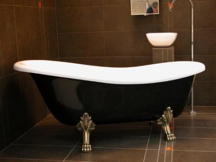 Freistehende Luxus Badewanne Jugendstil Roma Schwarz/Weiß/Altgold 1470mm - Barock Antik Badezimmer