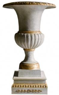 Casa Padrino Barock Gusseisen Vase mit Sockel Weiß / Gold Ø 55 x H. 78 cm - Prunkvolle Gartendeko im Barockstil