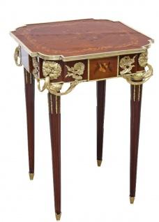 Casa Padrino Barock Beistelltisch Mahagoni Intarsien / Gold H75 x 50 cm - Ludwig XVI Antik Stil Tisch - Möbel