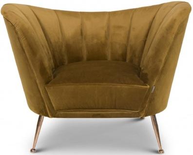 Casa Padrino Luxus Samt Sessel Ocker / Kupfer 77 x 78 x H. 102 cm - Art Deco Wohnzimmer Sessel - Luxus Möbel