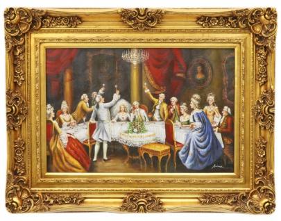 Casa Padrino Barock Öl Gemälde Hochzeitsfeier Gold Prunk Rahmen 130 x H. 100 cm - Prunkvolles Gemälde im Barockstil