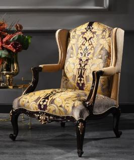 Casa Padrino Luxus Barock Ohrensessel Beige / Schwarz / Gold 79 x 80 x H. 108 cm - Edler Wohnzimmer Sessel im Barockstil - Luxus Qualität