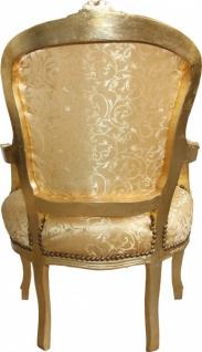 Casa Padrino Barock Salon Stuhl Gold Muster / Gold Mod1 - Antik Look - Vorschau 2