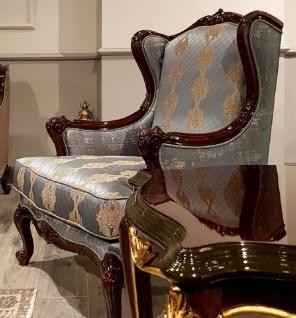 Casa Padrino Luxus Barock Ohrensessel Silber / Beige / Dunkelbraun - Prunkvoller Wohnzimmer Sessel mit elegantem Muster - Barock Möbel