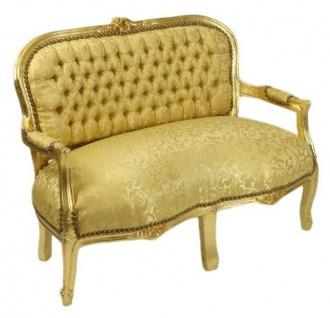 Casa Padrino Barock Kinder Sitzbank Gold Muster / Gold Antik Stil Kinder Sofa - Vorschau 2