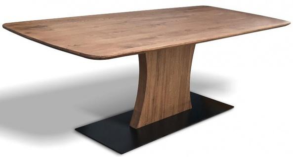 Casa Padrino Luxus Eichenholz Esstisch mit Metallfuß - Verschiedene Farben & Größen - Rustikaler Massivholz Küchentisch - Esszimmer Möbel