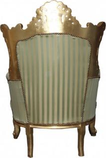 Casa Padrino Barock Sessel Al Capone Mod2 Jadegrün / Beige / Gold 85 x 65 x H. 127 cm - Möbel im Antik Stil - Vorschau 2