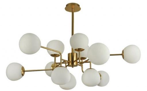 Casa Padrino Kronleuchter Gold / Weiß Ø 110 x H. 42, 7 cm - Moderner Kronleuchter mit runden Mattglas Lampenschirmen Deckenleuchte