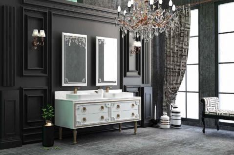 Casa Padrino Luxus Badezimmer Set Weiß / Gold - 1 Waschtisch mit 4 Schubladen und 2 Waschbecken und 2 Wandspiegel - Luxus Badezimmermöbel - Vorschau 2