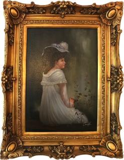 Casa Padrino Barock Öl Gemälde Damen Porträt Gold Prunk Rahmen 101 x H. 80 cm - Barockgemälde