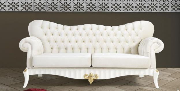 Casa Padrino Barock Sofa Creme / Weiß / Gold 224 x 83 x H. 112 cm - Wohnzimmer Sofa mit Glitzersteinen - Edle Barock Möbel