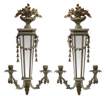 Casa Padrino Barock Wandleuchten Set Gold mit Spiegel - Wandlampe Wand Beleuchtung (2 Leuchten) - Vorschau