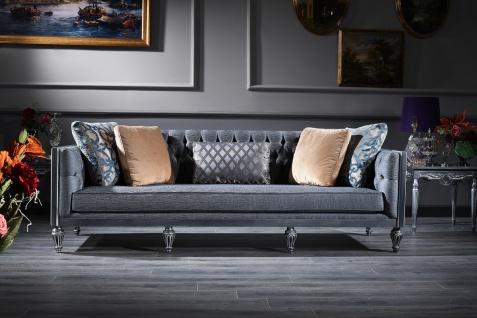 Casa Padrino Luxus Barock Chesterfield Sofa Blau / Silber 250 x 92 x H. 85 cm - Wohnzimmermöbel im Barockstil