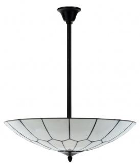 Casa Padrino Luxus Tiffany Hängeleuchte Weiß / Schwarz Ø 60 cm - Luxus Wohnzimmerlampe