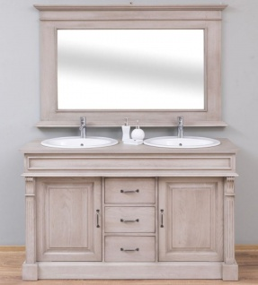Casa Padrino Landhausstil Badezimmer Set Grau - 1 Doppelwaschtisch & 2 Waschbecken & 2 Wasserhähne & 1 Wandspiegel - Massivholz Badezimmermöbel im Landhausstil
