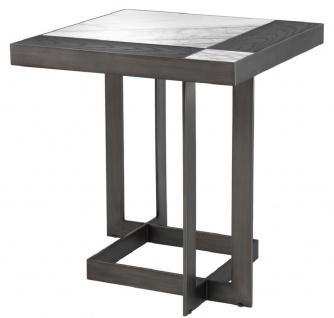 Casa Padrino Luxus Beistelltisch Weiß / Lila / Mokka 55 x 55 x H. 58 cm - Tisch mit Marmorplatten und Edelstahl Gestell - Luxus Möbel