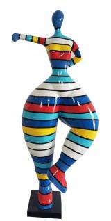 Casa Padrino Designer Deko Skulptur Frau beim Sport Mehrfarbig H. 85 cm - Dekofigur - Gartendeko Skulptur - Gartenfigur