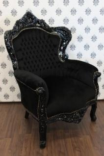 Barock Sessel King Schwarz/Schwarz - Möbel Antik Stil