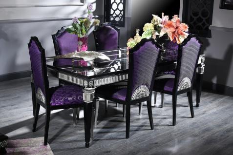 Casa Padrino Luxus Barock Esszimmer Set Lila / Schwarz / Silber - Esstisch und 6 Esszimmerstühle - Esszimmermöbel im Barockstil