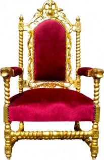 Casa Padrino Barock Thron Sessel Bordeaux / Gold Louis