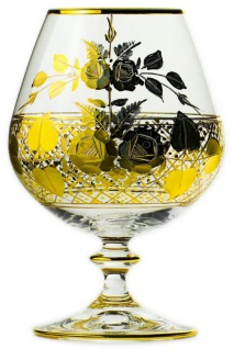 Casa Padrino Luxus Barock Brandy Glas 6er Set Gold Ø 9 x H. 14, 5 cm - Handgefertigte und handgravierte Cognacgläser - Hotel & Restaurant Accessoires - Luxus Qualität