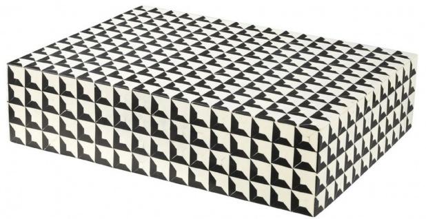 Casa Padrino Designer Schmuckkasten mit Deckel Schwarz / Weiß 40 x 30 x H. 10 cm - Schmuckschatulle - Aufbewahrungsbox - Luxus Qualität