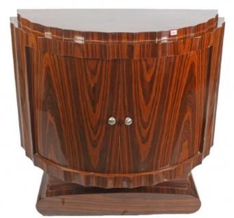 Casa Padrino Art Deco Nachttisch Braun 100 x 45 x H. 95 cm - Halbrunder Mahagoni Beistelltisch mit 2 Türen - Luxus Qualität