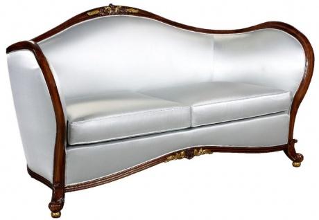 Casa Padrino Luxus Barock Sofa Silber / Dunkelbraun / Gold - Prunkvolles Wohnzimmer Sofa im Barockstil - Barock Wohnzimmer Möbel - Edel & Prunkvoll