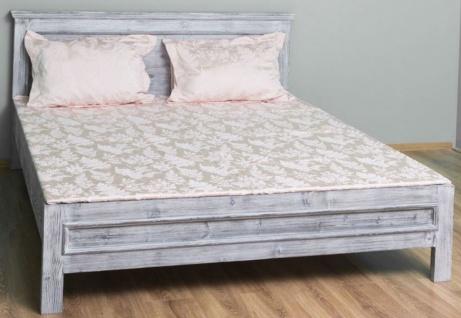 Casa Padrino Landhausstil Massivholz Bett Antik Grau 160 x 200 x H. 93 cm - Massivholz Doppelbett - Landhausstil Schlafzimmer Möbel