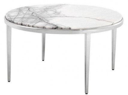 Casa Padrino Luxus Couchtisch Weiß / Silber Ø 65 x H. 36 cm - Runder Wohnzimmertisch mit Marmorplatte