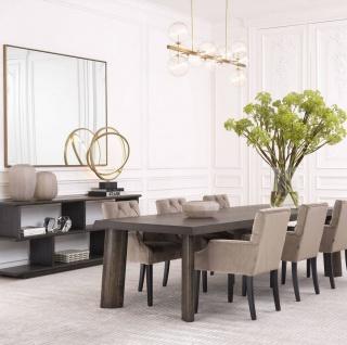 Casa Padrino Luxus Konsole Anthrazitgrau 230 x 40 x H. 85, 5 cm - Edler Konsolentisch mit 2 Regalen - Massivholz Regalschrank - Luxus Wohnzimmer Möbel - Vorschau 4