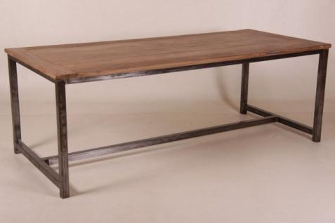 Casa Padrino Vintage Teak Esstisch Holzfarben mit Metallgestell - Landhaus Stil Tisch Teakholz - Vorschau