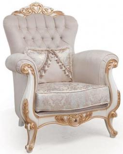 Casa Padrino Luxus Barock Wohnzimmer Sessel mit Kissen Hellgrau / Weiß / Bronze 95 x 75 x H. 120 cm - Möbel im Barockstil