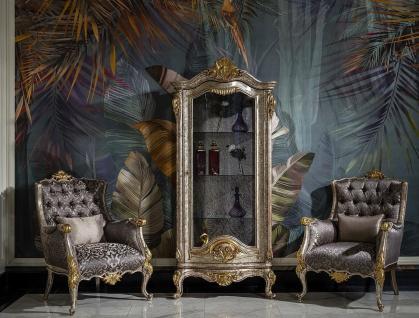 Casa Padrino Luxus Barock Vitrine Antik Silber / Braun / Gold - Handgefertigter Massivholz Vitrinenschrank - Prunkvolle Barock Möbel - Vorschau 2