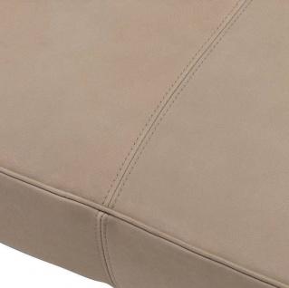 Casa Padrino Luxus Echtleder Bank Beige / Schwarz 164 x 54 x H. 44 cm - Gepolsterte Massivholz Sitzbank mit edlem Nubuk Büffelleder - Luxus Möbel - Vorschau 5