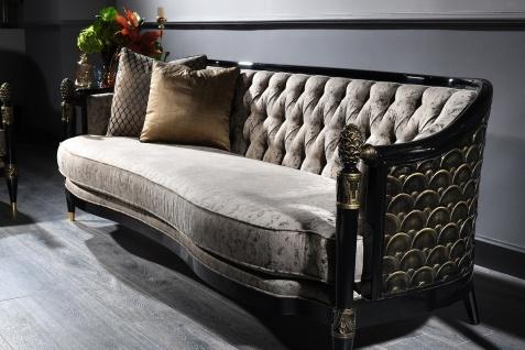 Casa Padrino Luxus Barock Chesterfield Sofa Silbergrau / Schwarz / Gold 231 x 94 x H. 83 cm - Barock Wohnzimmermöbel