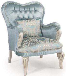Casa Padrino Luxus Barock Sessel Türkis / Creme / Gold 76 x 82 x H. 104 cm - Wohnzimmer Sessel mit dekorativem Kissen