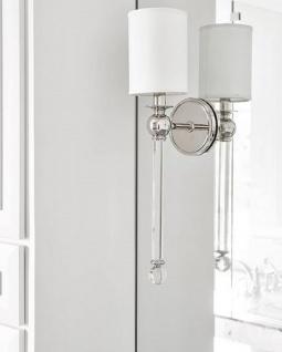 Casa Padrino Luxus Wandleuchte Silber / Weiß 12, 7 x 17, 2 x H. 56, 5 cm - Wandlampe mit Kristallglas und rundem Seiden Lampenschirm - Vorschau 3