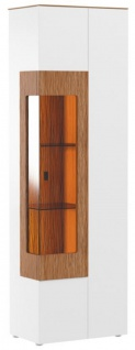 Casa Padrino Eckvitrine Weiß / Braun 65, 4 x 40 x H. 202 cm - Moderner Beleuteter Massivholz Vitrinenschrank - Wohnzimmer Schrank - Wohnzimmer Möbel