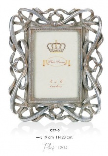 Casa Padrino Barock Bilderrahmen Silber Antik Stil 23 x 19 cm - Bilder Rahmen Foto Rahmen Jugendstil Antik Stil Mod AX9