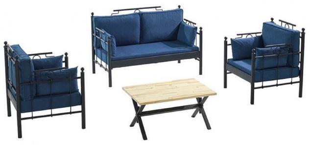 Casa Padrino Jugendstil Gartenmöbel Set Blau / Schwarz - 1 Sofa & 2 Sessel & 1 Tisch - Jugendstil Garten & Terrassen Möbel