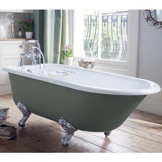 Casa Padrino Luxus Gusseisen Badewanne Hellgrau / Weiß 170 cm - Freistehende Badewanne - Barock & Jugendstil Badezimmer Möbel