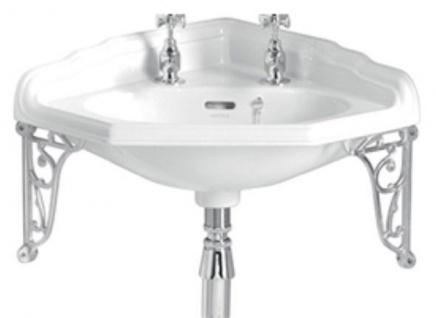 Casa Padrino Luxus Jugendstil Eckwaschbecken Weiß / Silber 63, 5 x 49, 5 x H. 23 cm - Porzellan 2-Loch Waschbecken mit Wandhalterung - Badezimmer Möbel