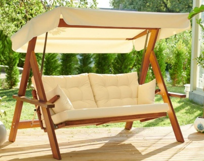 Casa Padrino Luxus Hollywood Schaukel Cremefarben / Braun - Moderne Wetterfeste Garten Schaukel mit Sonnendach - Garten Terrassen Hotel Möbel - Luxus Möbel - Vorschau 1