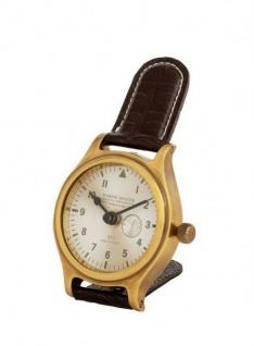 Casa Padrino Designer Luxus Uhr Messing finish mit braunem Leder 10 x H. 16 cm - Luxus Tischuhr