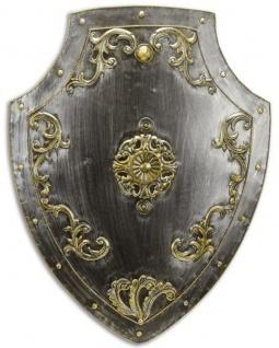 Casa Padrino Metall Ritterschild Silber / Antik Gold 55 x H. 71 cm - Mittelalter Deko - Wanddeko