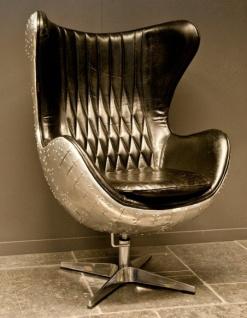 Casa Padrino Art Deco Lounge Chair Drehstuhl Sessel Aluminium / Echt Leder Schwarz Ei-Form - Club Sessel - Lounge Sessel - Vintage Airplane Möbel
