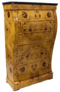 Casa Padrino Art Deco Kommode mit 6 Schubladen Hellbraun / Schwarz 95 x 45 x H. 155 cm - Wurzelholz Schubladenschrank - Wohnzimmerschrank - Art Deco Möbel