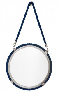 Casa Padrino Luxus Hänge Spiegel Marine Durchmesser 58cm - Wandspiegel, Schminkspiegel, Hotel Spiegel